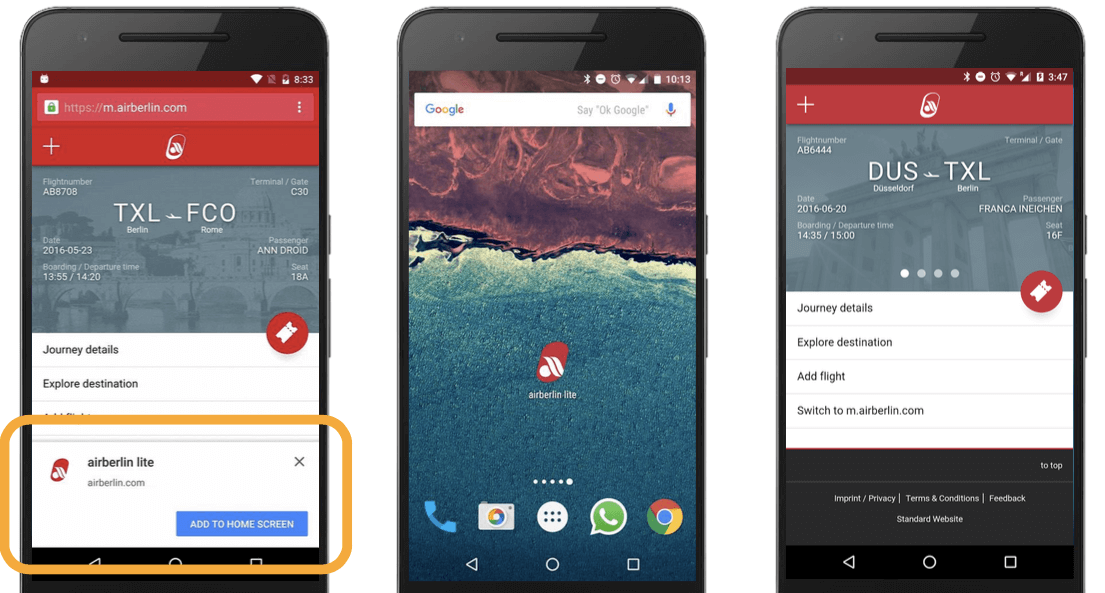 3 screens from the Air Berlin Progressive web app